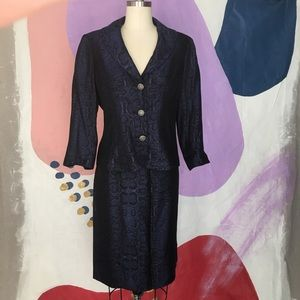 VINTAGE Steel Blue SnakeSkin Skirt Jacket Suit Set